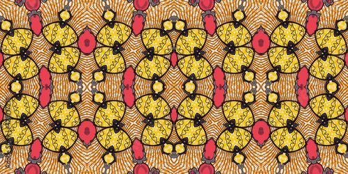 Obraz na plátne Colorful African fabric – Seamless pattern, cotton, photo