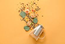 Composition With Teapot, Rose Flowers And Dry Flowers On Color Background