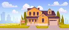 Suburban House With Sign For Sale. Residential Cottage From Yellow Brick With Garage With Cityscape On Background. Vector Cartoon Landscape With Suburb Mansion. Real Estate Purchase Concept