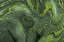 Abstract Fluid Art Background Dark Green And Olive Colors. Liquid Marble. Acrylic Painting With Khaki Lines And Gradient