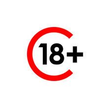 18  Age Limit Vector Sign, Red Arc With Black Digits
