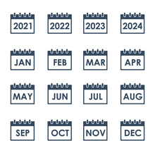 Calendar Grid With Month Names, Vector Icons Set