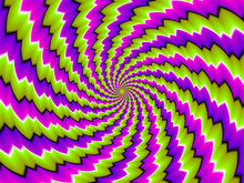 Green And Purple Spirals. Spin Illusion.