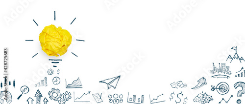 Yellow paper light bulb and business strategy on white background, Concept of new ideas creativity, innovation, Inspiration and solution
