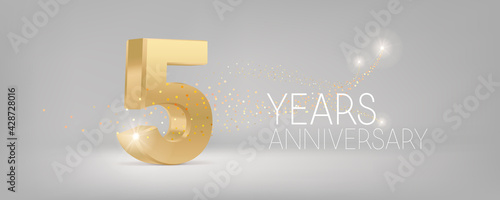Canvastavla 5 years anniversary vector icon, logo