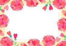 ハート型花びらのカーネーションのイラストフレーム