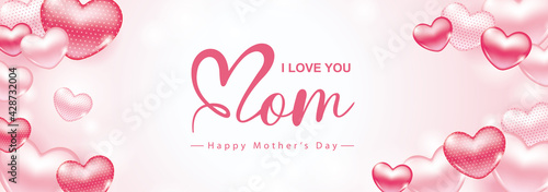 Fototapeta Happy Mother's Day poster and banner template. Vector illustration for greeting card, women's day, shop, invitation, discount, sale, flyer, decoration. obraz