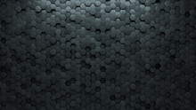 Futuristic, Hexagonal Wall Background With Tiles. 3D, Tile Wallpaper With Concrete, Polished Blocks. 3D Render