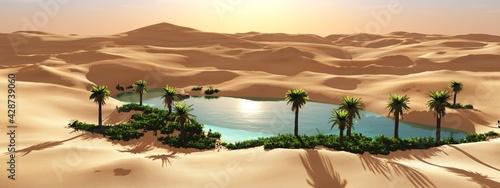 Cuadros en Lienzo Oasis in the desert, palm trees in the desert near the water, pond with palm tre