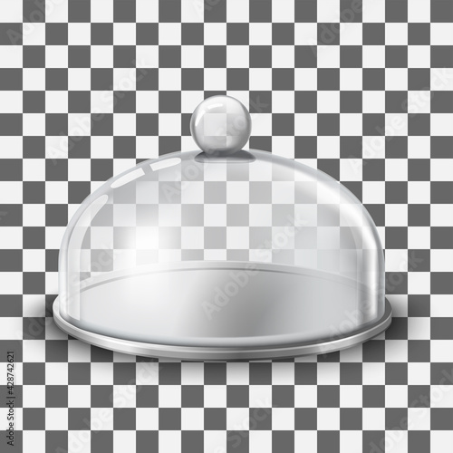 Fototapeta Cake stand with glass cover dome ill