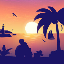Nature Sea Romantic Illustration Of Sunset Or Sunrise In The Sea With Beloved Couple Silhouette, Shining Sun, Red Sky, Palm Tree, Rocks, Sail Vessel And Lighthouse. Vector