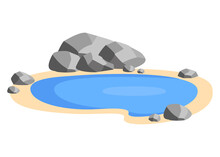 Landscape Pond With Stones On The Shore. Small Pool, Lake In Nature. Outdoor Recreation Area. Vector Illustration