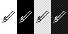Set Line Bamboo Flute Indian Musical Instrument Icon Isolated On Black And White Background. Vector