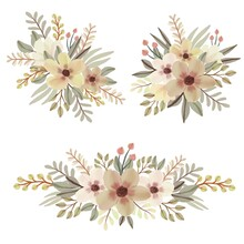 Arrangement Of Floral Watercolor In Soft Yellow. Floral Vector Design