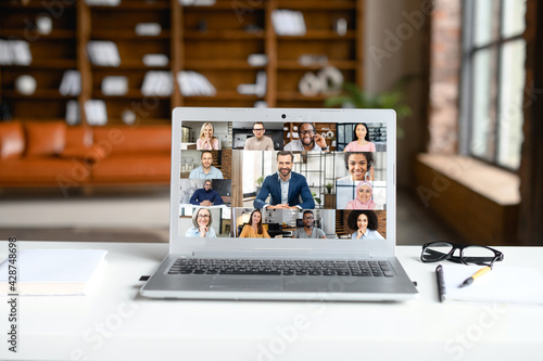 Obraz na plátně Laptop screen webcam view different ethnicity age people engaged in group videocall