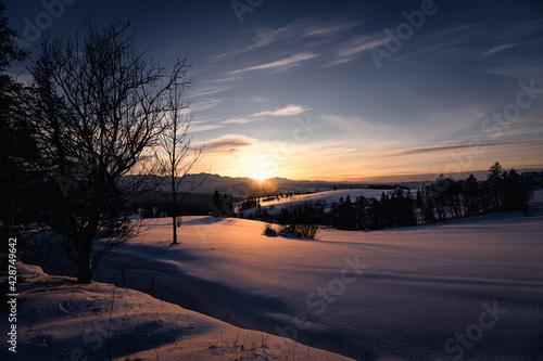 Fototapeta Zachód słońca z Łapszanki. obraz