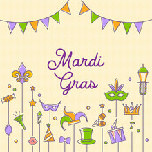 Mardi Gras Carnival Set Icons, Design Element , Flat Style. Collection Mardi Gras, Mask With Feathers, Beads, Joker, Fleur De Lis, Party Decorations. Vector Illustration, Clip Art