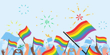 Pride Day People. Pride Day Flag. Lgbt. Crowd Of People With Rainbow Flags And Symbols On Pride Parade