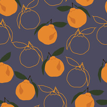 Orange Fruits With Line Art Vector Seamless Repeating Pattern. Greate As A Textile Print, Fabric, Wallpaper, Scrapebooking, Background Or Packaging, Giftwrap. Surface Pattern Design.