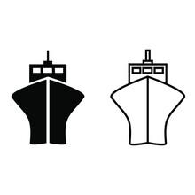 Ship Icon Vector Set. Liner Illustration Sign Collection. Tanker Symbol Or Logo.