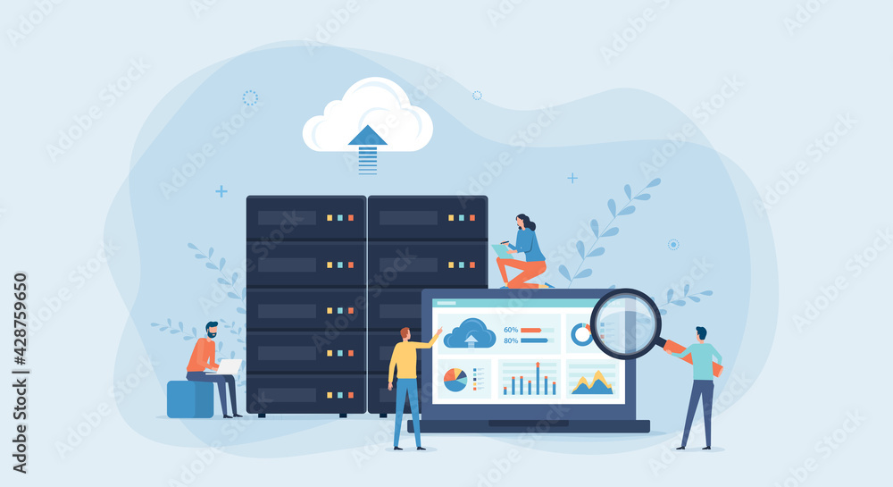 Fototapeta business technology cloud computing service concept and datacenter storage server connect on cloud with administrator and developer team working on dashboard monitor concept