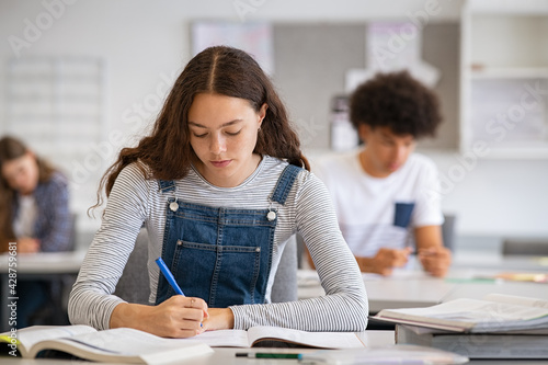 Fototapeta College girl studying with concentration in class