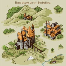 Hand Drawn Art Settlements For Cartography Map Work With Colorful Buildings And Landscape From Transylvania Architecture