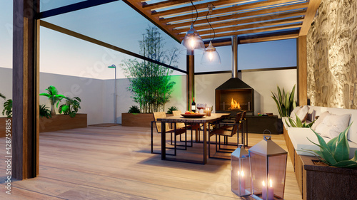 Foto 3D render of urban patio at twilight with fire place and wooden table