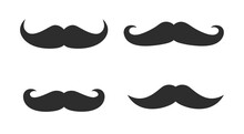 Vector Whisker Hipster Black Charlie Chaplin Moustache Set. Cartoon Dad Moustache Icon