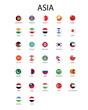 National flag in Asia, Vector circle design.