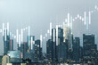 Abstract virtual financial graph hologram on Los Angeles skyline background, forex and investment concept. Multiexposure