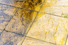 Cleaning Of Tiles In The Garden With Pressure Washer