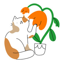 Cat Chewing Flower, Vector Illustration