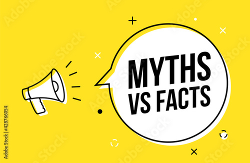 Photo Myths and facts logo vector megaphone background