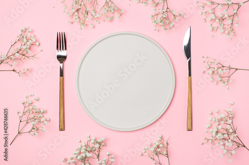 Fotografie, Obraz Spring and mothers day table layout with plate and tableware