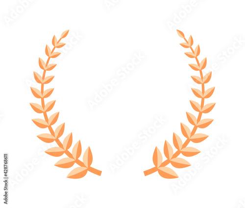 Fotografie, Obraz Bronze laurel leaf wreath award isolated on white