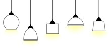A Set Of Five Ceiling Lamps With Light. Vector Illustration.