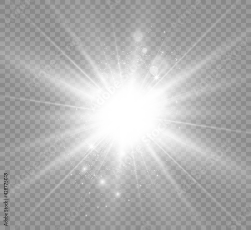 Special lens flash, light effect. The flash flashes rays and searchlight. illust.White glowing light. Beautiful star Light from the rays. The sun is backlit. Bright beautiful star. Sunlight. Glare.	 - fototapety na wymiar