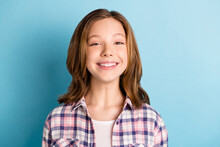 Photo Of Funny Funky Small Girl Wear Checkered Shirt Smiling Isolated Blue Color Background