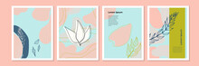 Vector Templates With Floral And Leaves On Pink Pastel Color. Can Be Use For Mother's Day Greeting Card, Women's Day Celebration Template, Wedding Invitation And Much More