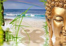 Composition Zen Avec Bouddha, Lotus, Bambou, Herbe Et Symbole Yin Yang Sur Plage Paradisiaque