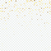 Star Sequin Confetti. Christmas Party Frame. Vector Gold Glitter. Falling Particles On Floor. Isolated Flat Birthday Card. Golden Stars Banner. Voucher Gift Card Template.