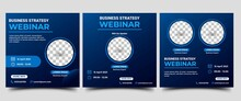 Webinar Social Media Post Template. Modern Banner With Abstract Gradient Blue Background. Vector Design With Place For The Photo. Suitable For Social Media Post, Banners, Flyers, And Website.