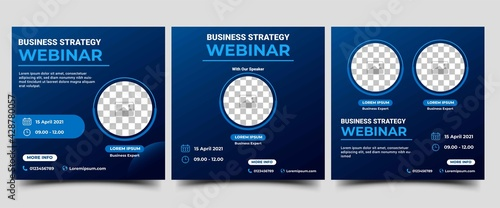 Obraz Webinar Social Media post template. Modern banner with abstract gradient blue background. Vector design with place for the photo. Suitable for social media post, banners, flyers, and website.	 - fototapety do salonu
