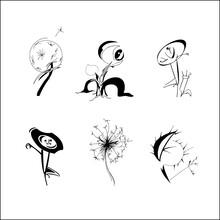 Set Of Hand Drawn Fantasy Flowers. Spring Summer Flowers Dandelion In Different Form, Patterned Design Elements For Logo, Tatoo, Cards. Vector Illustration