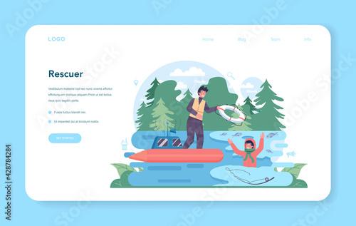 Urgency rescuer web banner or landing page. Ambulance lifeguard - fototapety na wymiar