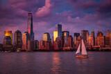 Fototapeta Nowy Jork - Widok na Manhattan wieczór po burzy