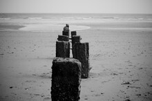 Black And White Shot Of Wave Breakers At A Beach