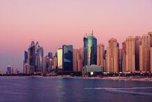 Dubai Embankment At Sunset