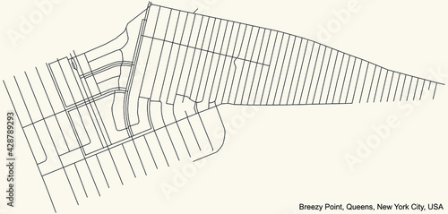 Black simple detailed street roads map on vintage beige background of the quarte Fototapete